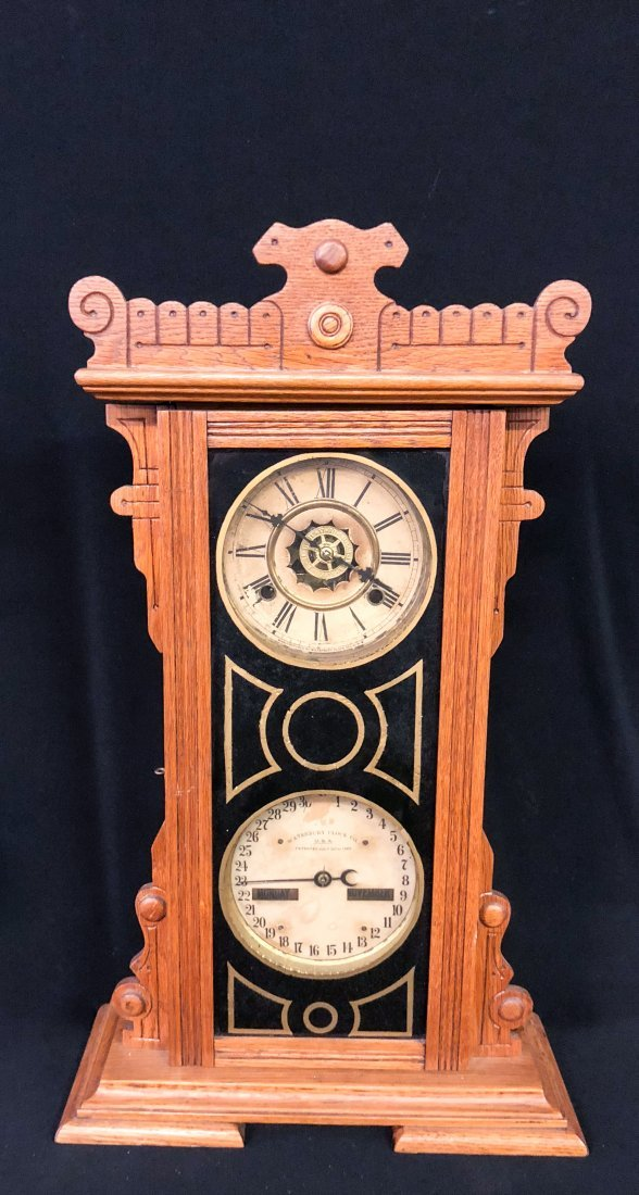 WATERBURY CLOCK CO. No. 44 CALENDAR SHELF CLOCK