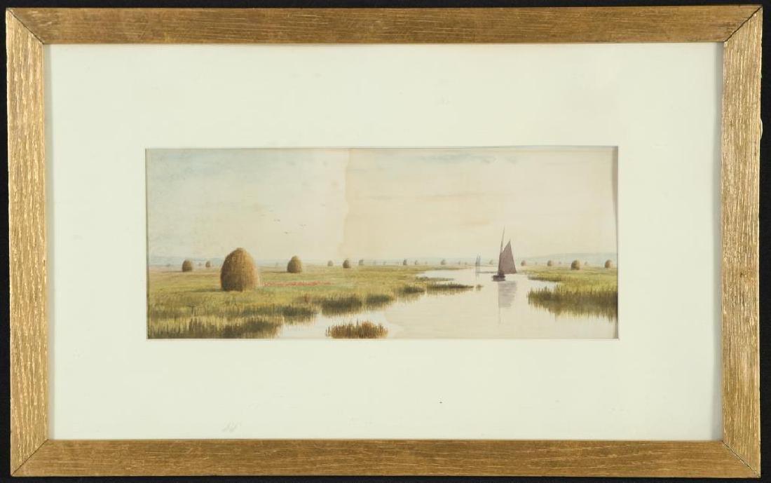 "FRANK THURLO (1837-1913) ""Catboat on the Plum Island"