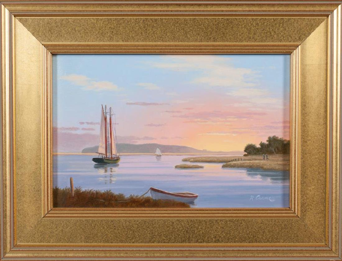 """RAY CRANE (20th / 21st c) """"Sunset on the Essex River"""""""