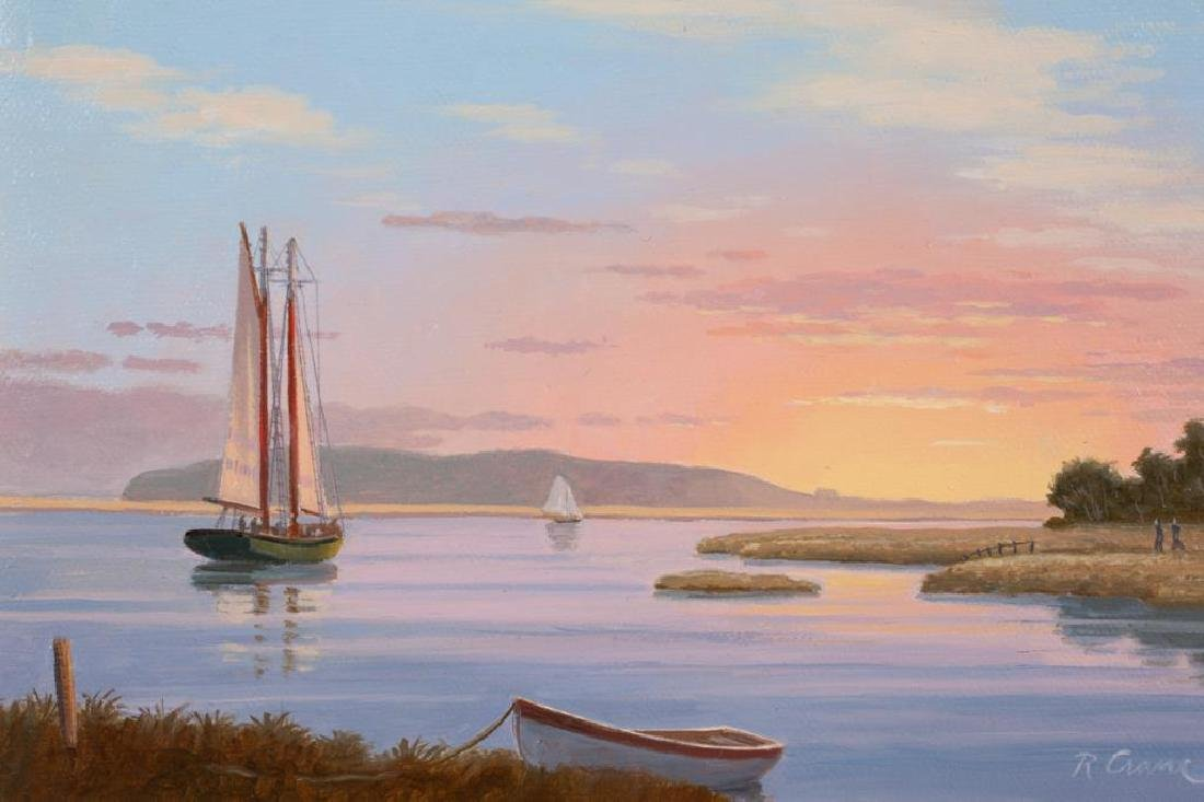 """RAY CRANE (20th / 21st c) """"Sunset on the Essex River"""" - 3"""