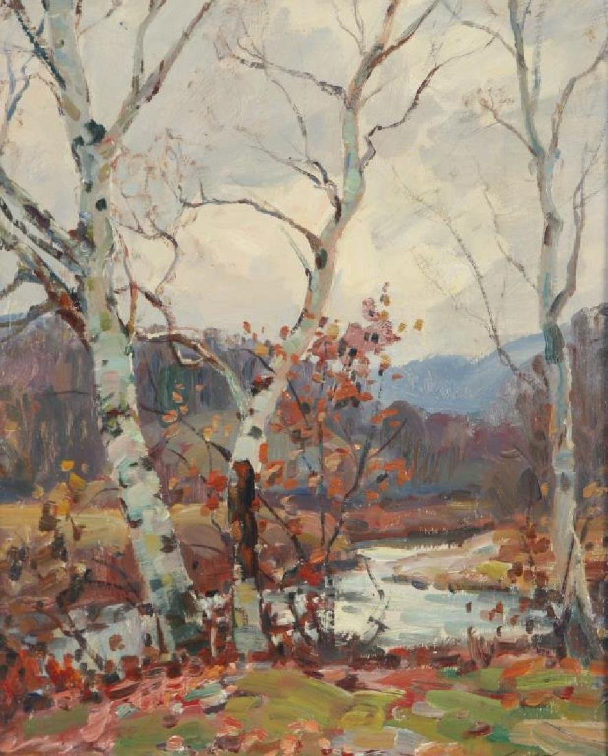 "THOMAS R, CURTIN (1899-1977) ""Birches in Autumn"" oil on - 2"
