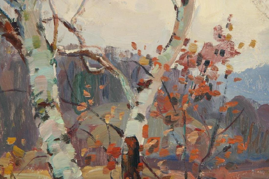 "THOMAS R, CURTIN (1899-1977) ""Birches in Autumn"" oil on - 4"