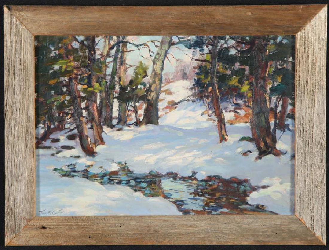 "THOMAS R, CURTIN (1899-1977) ""Winter Stream"" oil on"