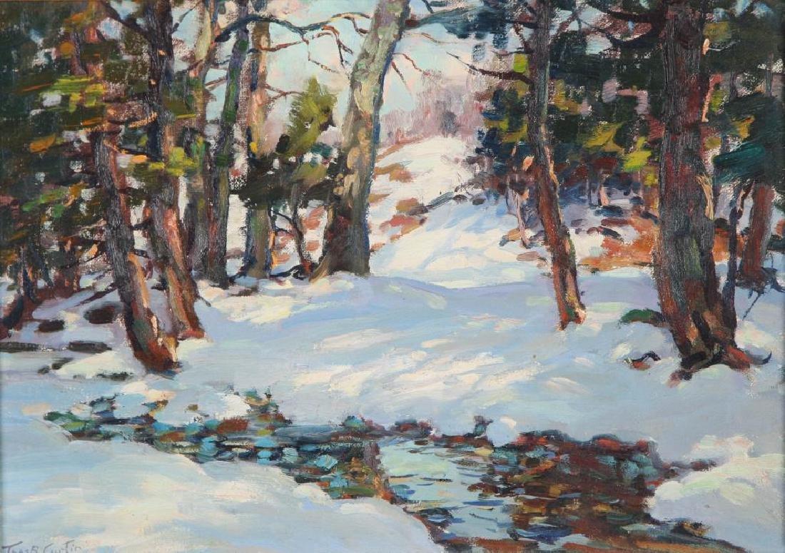"THOMAS R, CURTIN (1899-1977) ""Winter Stream"" oil on - 3"