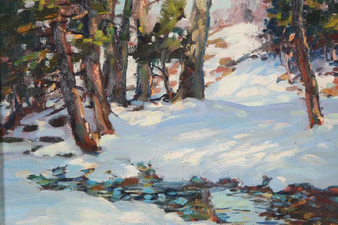 "THOMAS R, CURTIN (1899-1977) ""Winter Stream"" oil on - 5"