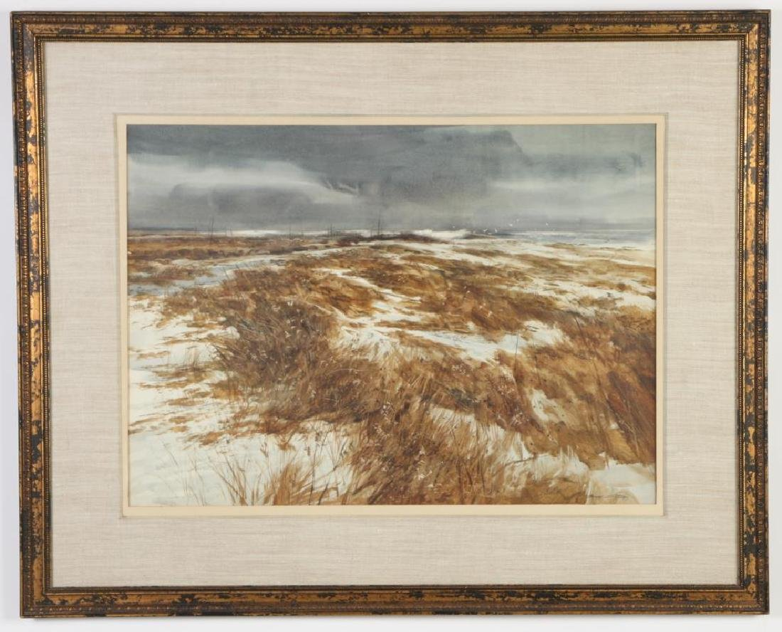 """DON STONE (1929-2015) """"Winter on the Coast"""" gouache 20"""
