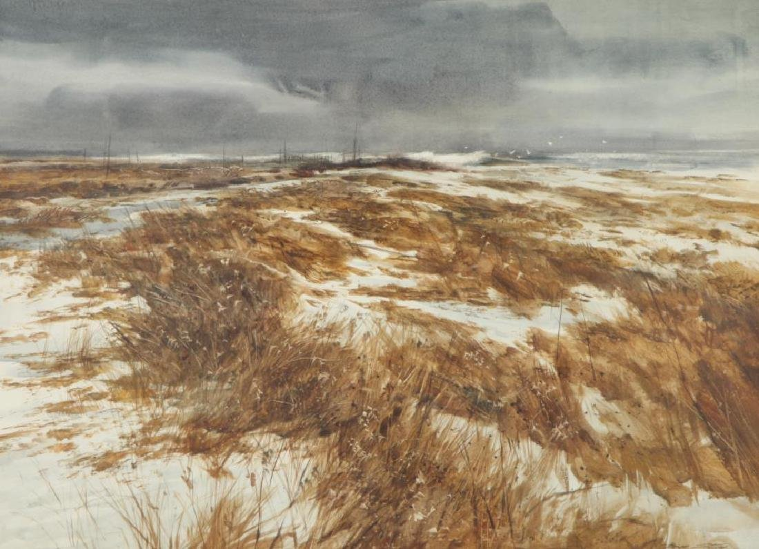 """DON STONE (1929-2015) """"Winter on the Coast"""" gouache 20 - 3"""