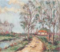 """AMERICAN SCHOOL (20th c) Landscape """"Road to the Country"""