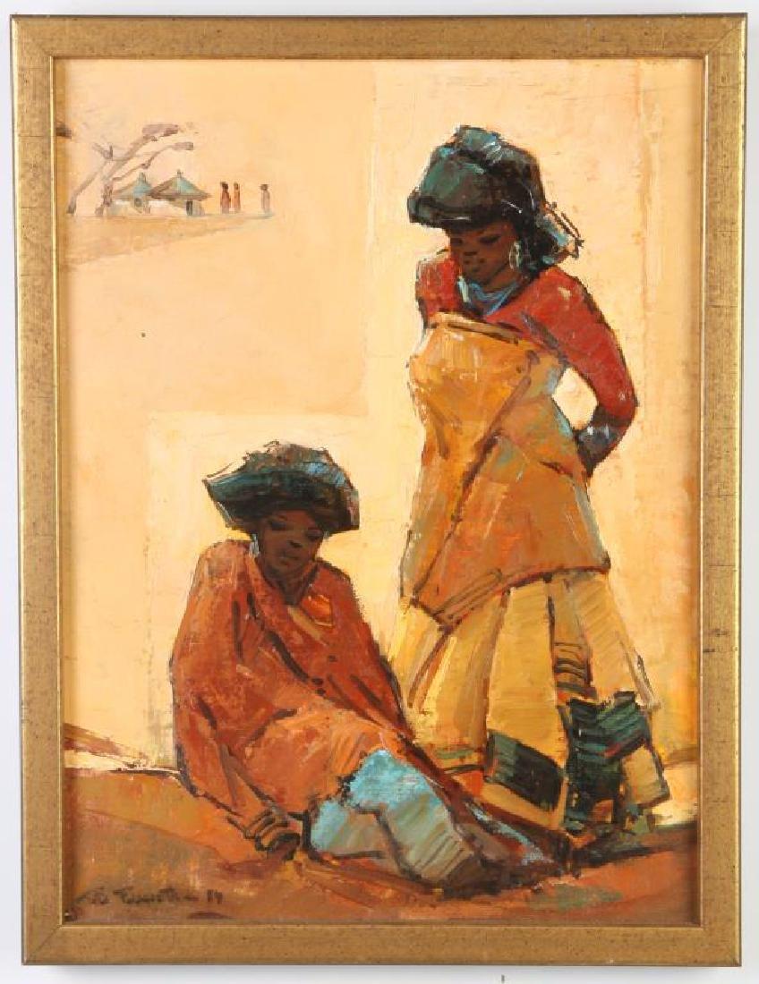 "TITTA FASCIOTTI (1927-1993) ""Xhosa Women"" oil on"