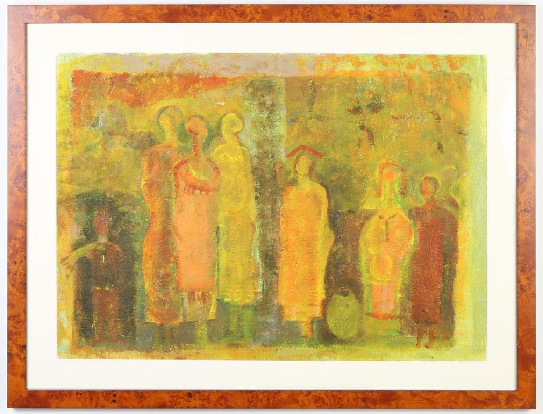 """PAUL SEKETE (b. 1957) SOUTH AFRICA """"Figures"""" oil and"""