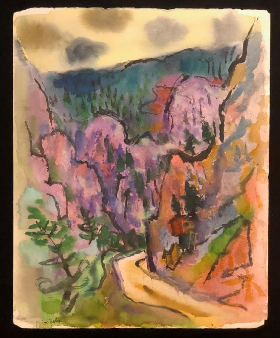 "TIBOR GERGELY (1900-1978) ""Landscape"" watercolor 22 x"