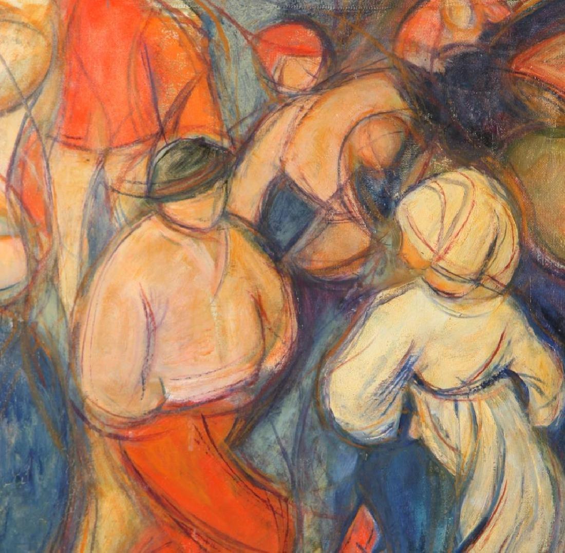 """(2) AMERICAN SCHOOL (20th c) """"Dancing Peasants"""" oil on - 3"""