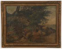 "AMERICAN SCHOOL (20th c) Landscape ""By River's Edge"""