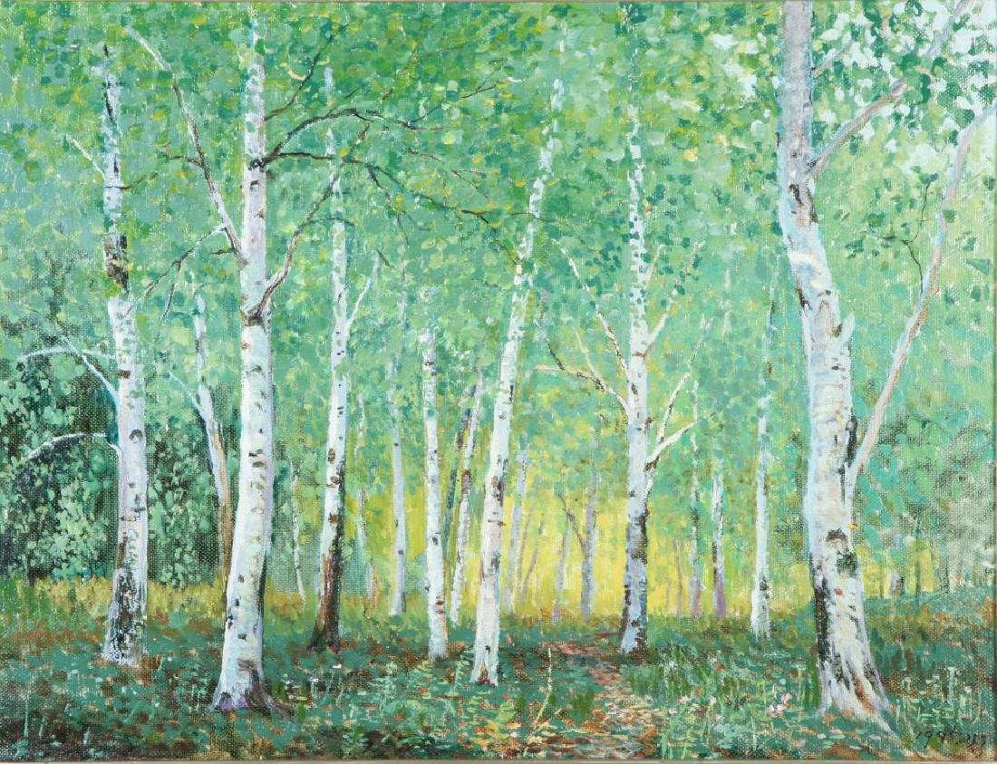 "AMERICAN SCHOOL (20th / 21st c) Woodland ""Birches"" oil"