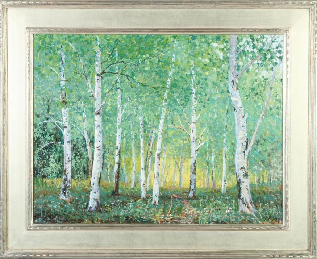 "AMERICAN SCHOOL (20th / 21st c) Woodland ""Birches"" oil - 2"