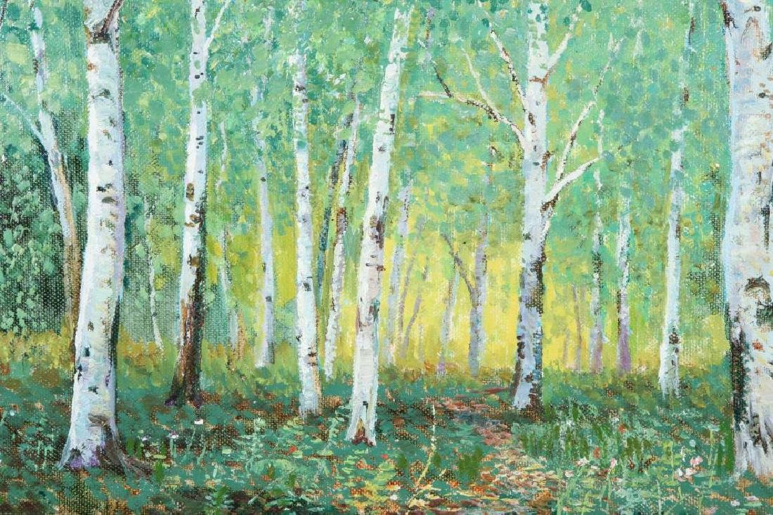 "AMERICAN SCHOOL (20th / 21st c) Woodland ""Birches"" oil - 4"