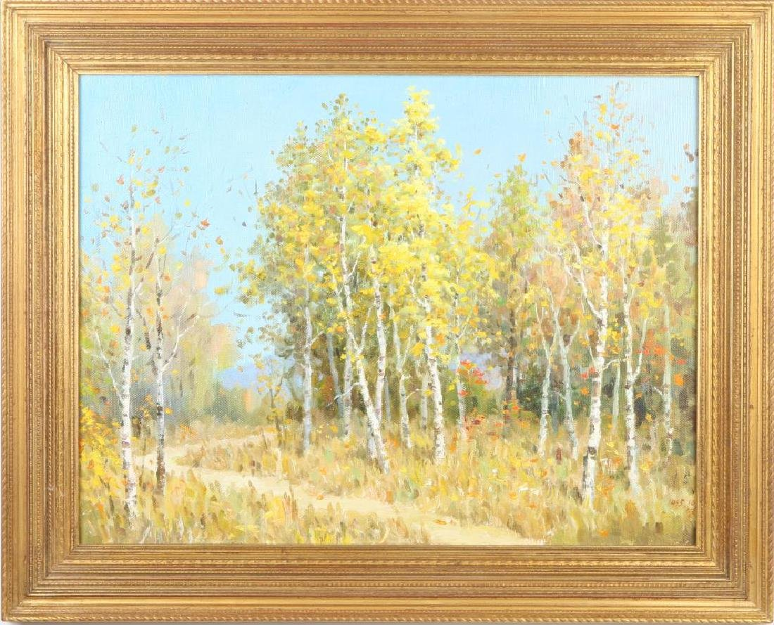 "AMERICAN SCHOOL (20th / 21st c) Landscape ""Birch Lined"
