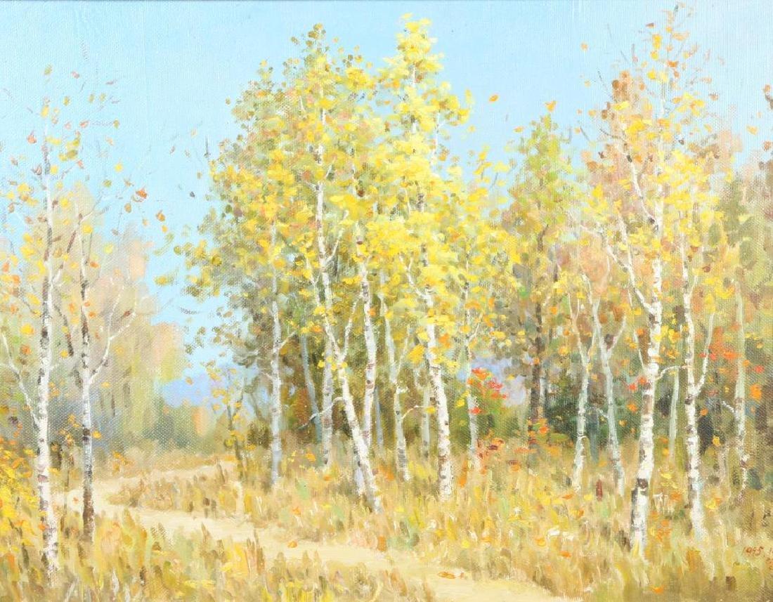 "AMERICAN SCHOOL (20th / 21st c) Landscape ""Birch Lined - 2"