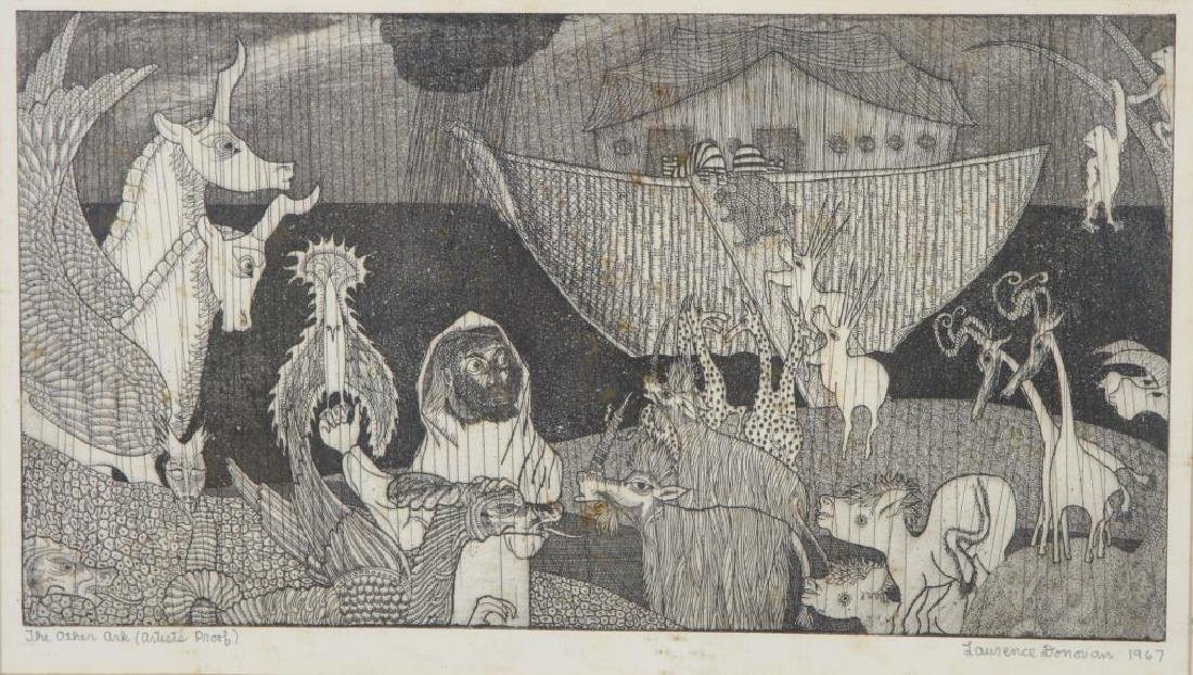 """AMERICAN SCHOOL (Mid-20th c) """"The Other Ark"""" etching 7"""