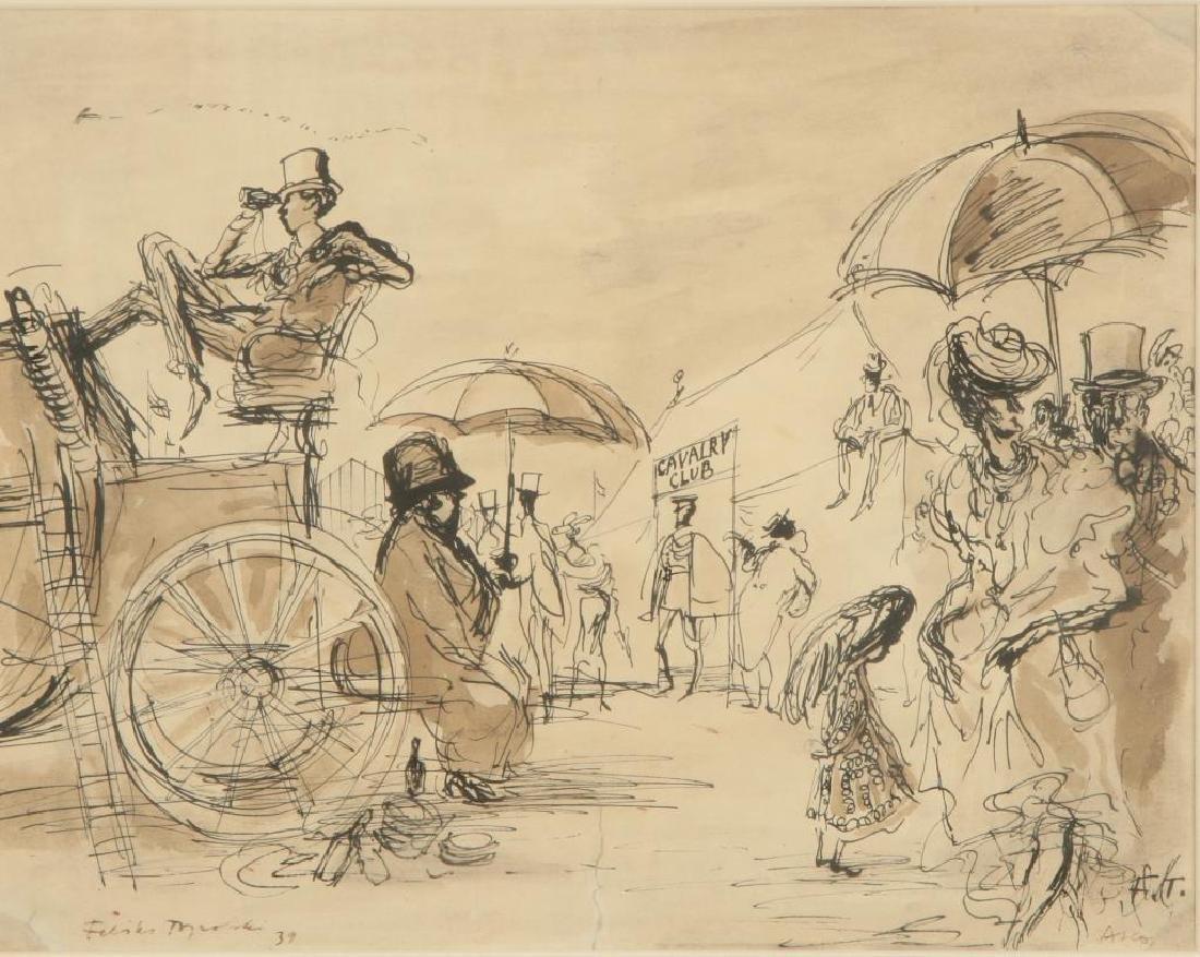 """BRITISH SCHOOL (20th c) """"Cavalry Club"""" ink and wash 12"""