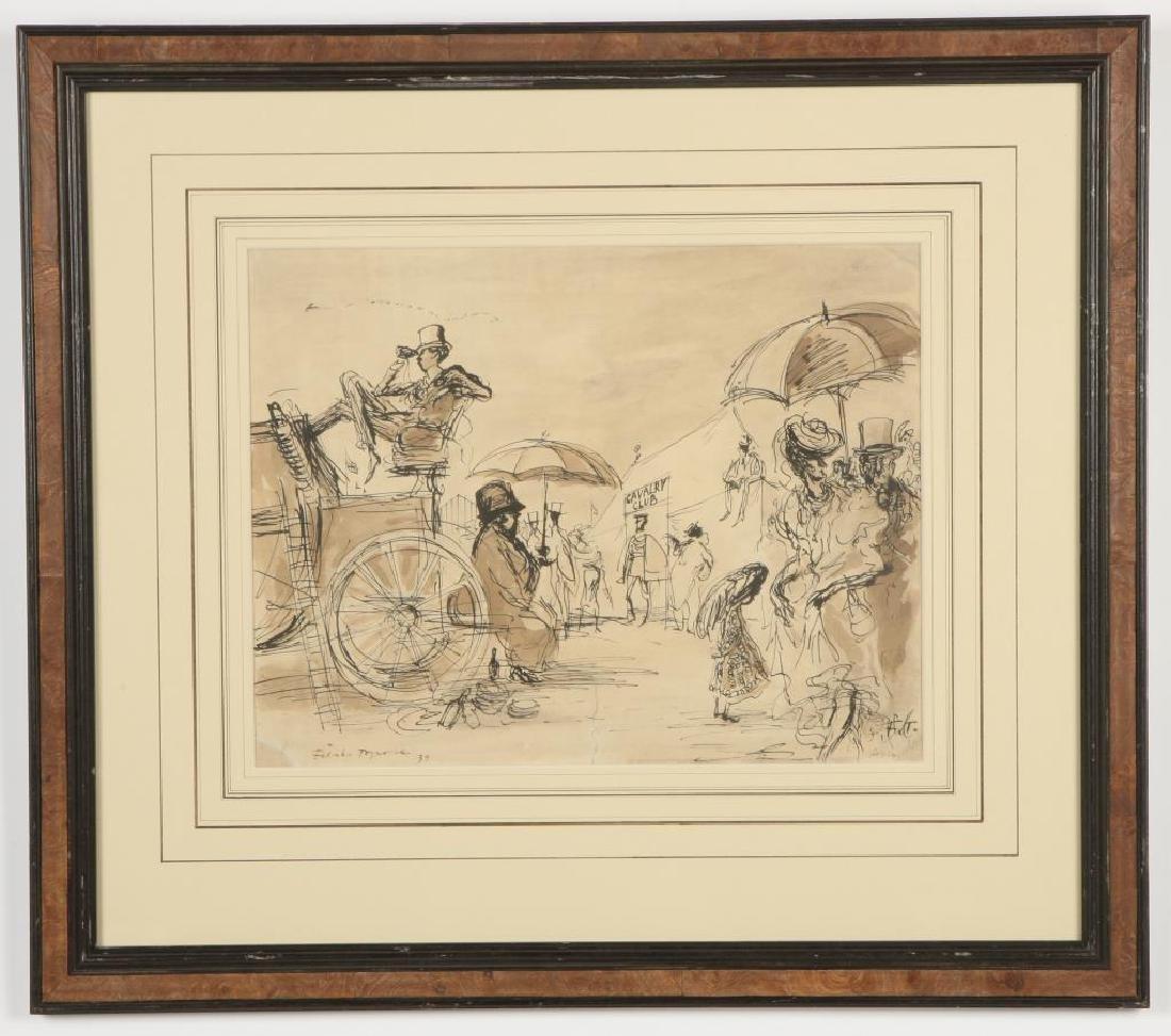 """BRITISH SCHOOL (20th c) """"Cavalry Club"""" ink and wash 12 - 3"""