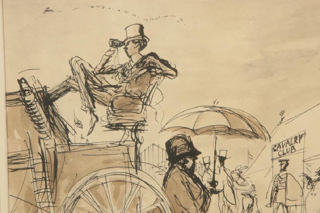 """BRITISH SCHOOL (20th c) """"Cavalry Club"""" ink and wash 12 - 4"""