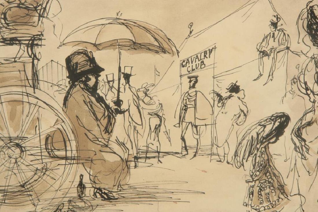 """BRITISH SCHOOL (20th c) """"Cavalry Club"""" ink and wash 12 - 7"""