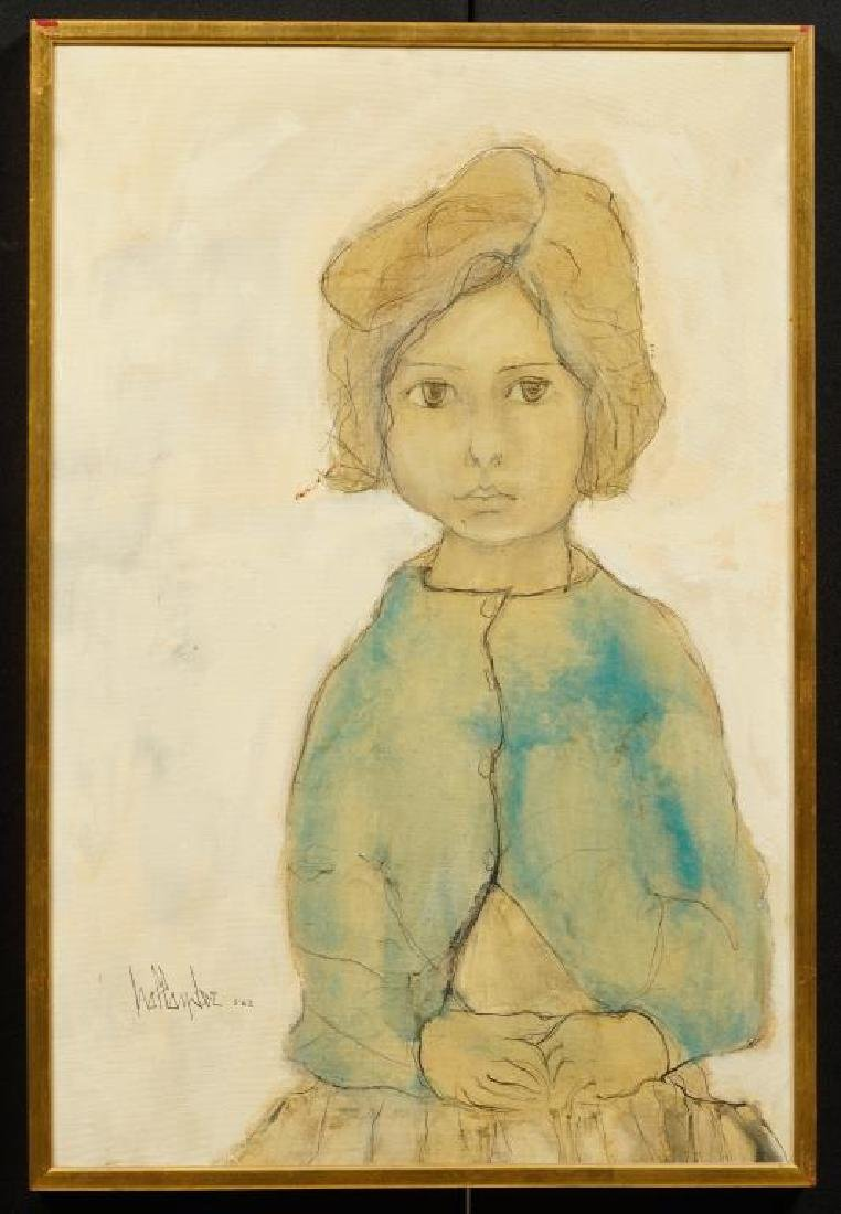 "GINO HOLLANDER (1924-2015) ""Little Miss"" oil on canvas"