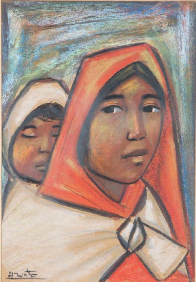 """MEXICAN SCHOOL (20th c) """"Mother and Child"""" mixed media"""