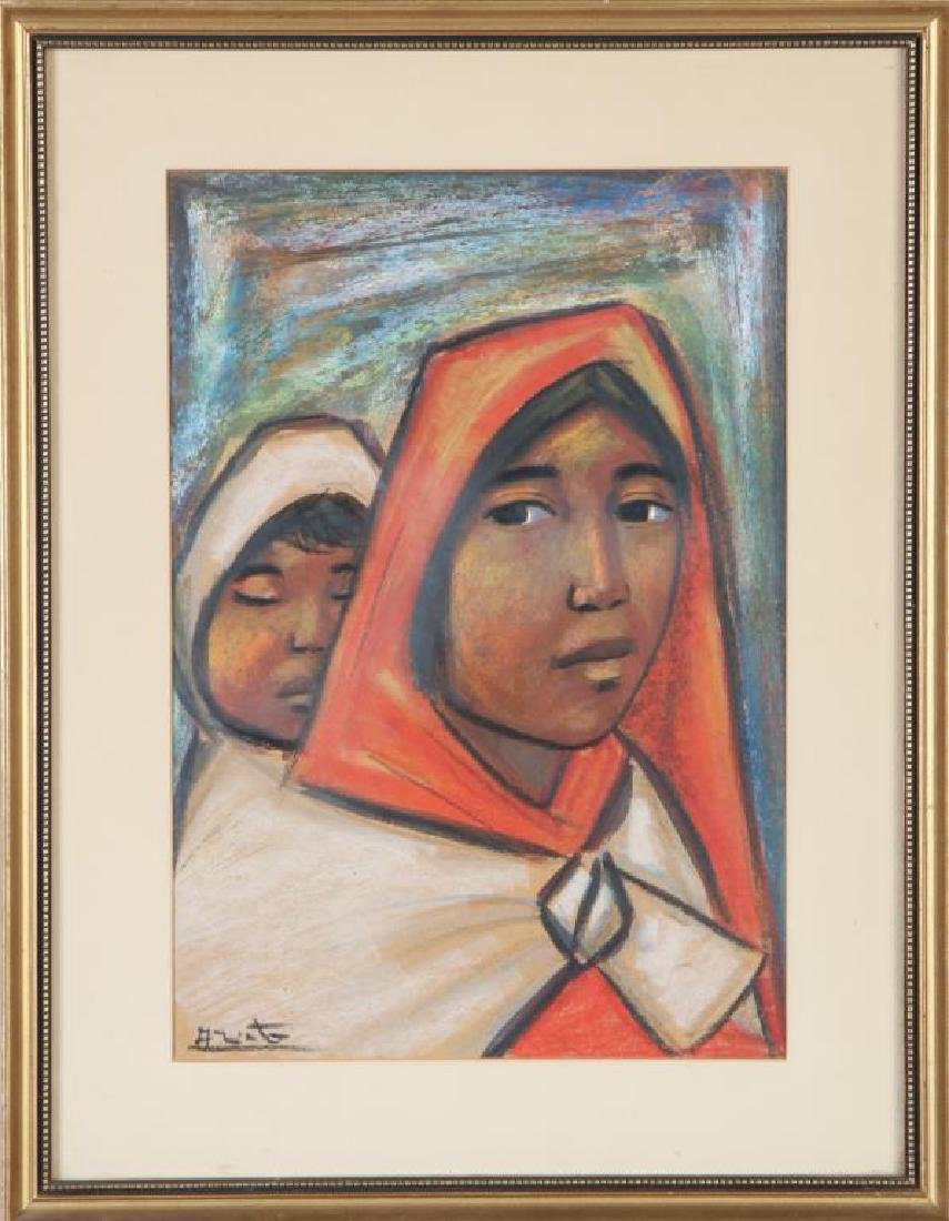 """MEXICAN SCHOOL (20th c) """"Mother and Child"""" mixed media - 3"""