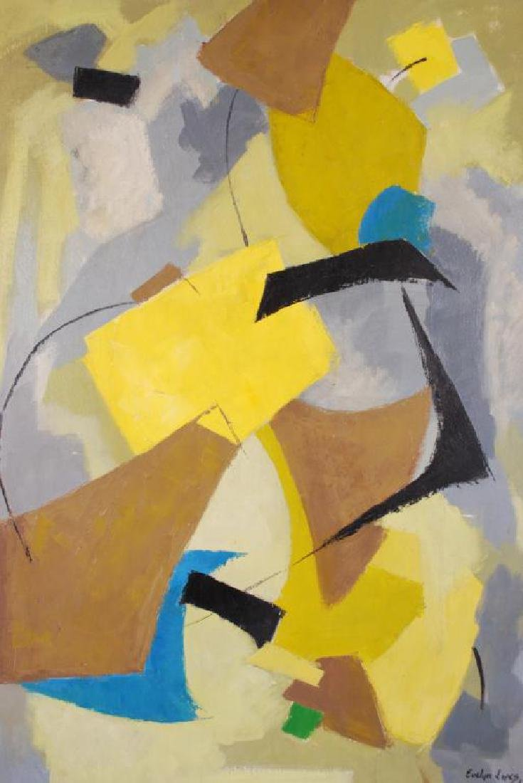 "AMERICAN SCHOOL (20th c) Abstraction ""Abstraction"" oil - 4"