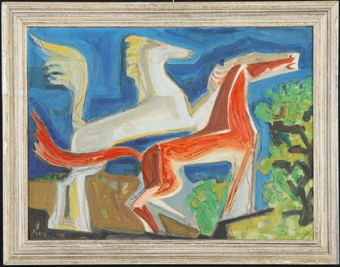 "MID CENTURY MODERN Horses ""Abstracted Horses"" oil on"