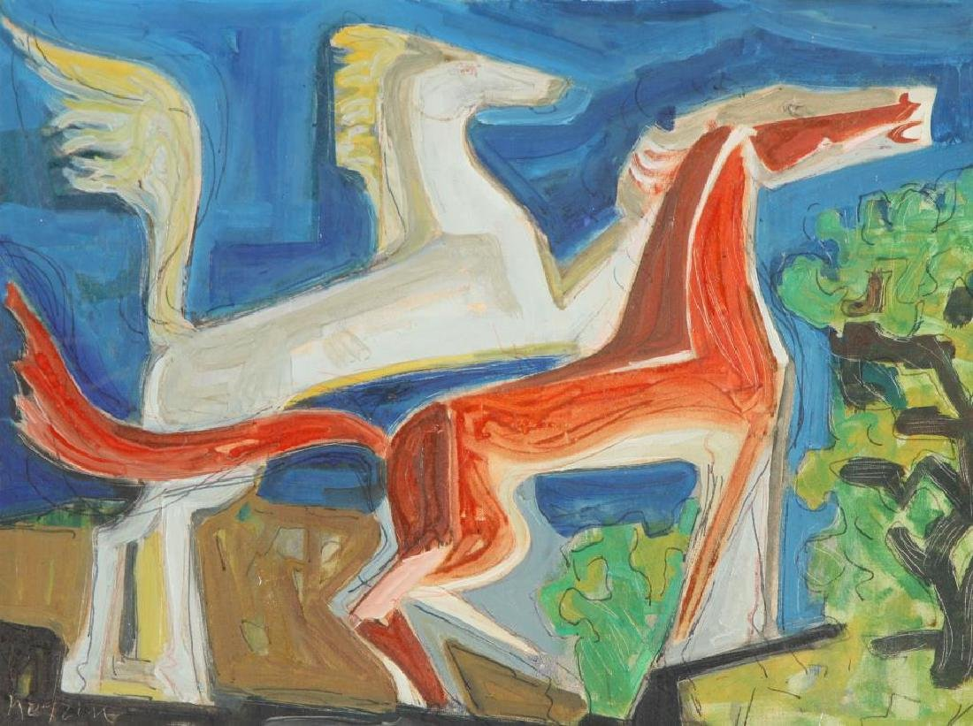 "MID CENTURY MODERN Horses ""Abstracted Horses"" oil on - 3"