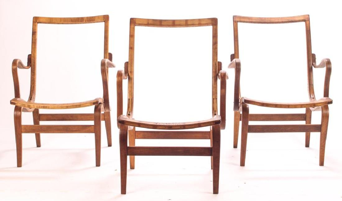 (3) BRUNO MATHSSON BENT WOOD CHAIRS Model 41 signed