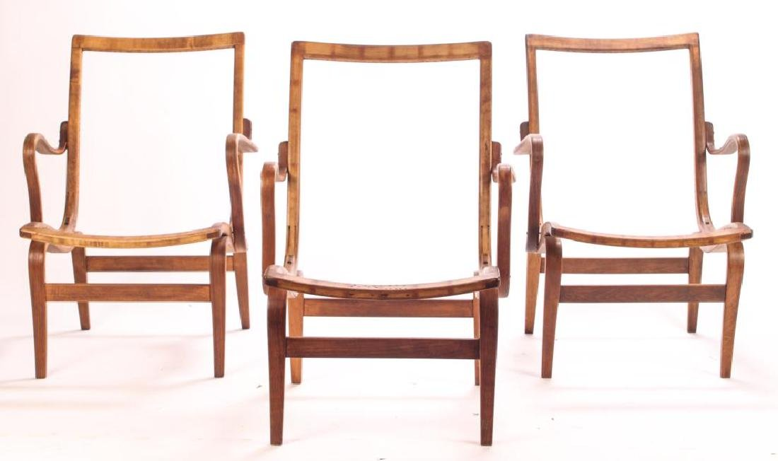 (3) BRUNO MATHSSON BENT WOOD CHAIRS Model 41 signed - 4