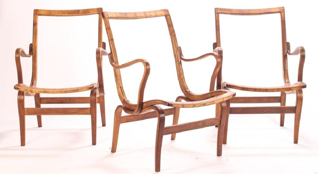 (3) BRUNO MATHSSON BENT WOOD CHAIRS Model 41 signed - 6