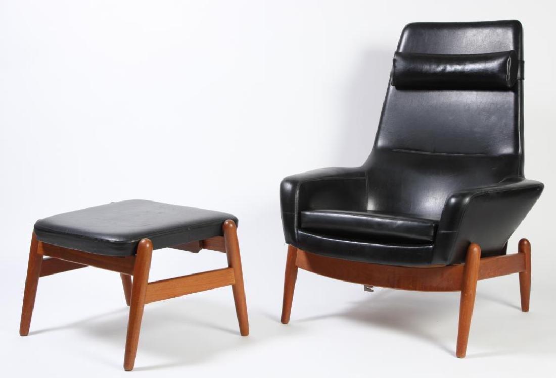 1960's SIGNED DANISH MODERN RECLINER AND LEG REST