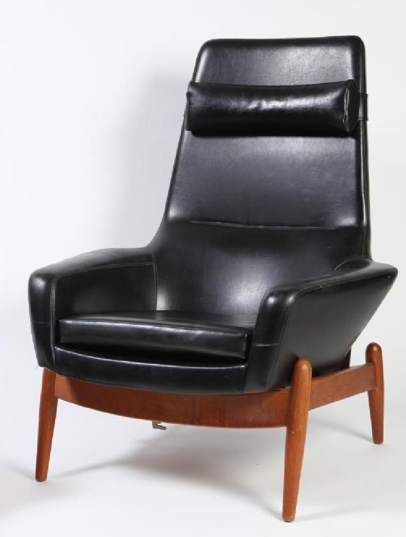 1960's SIGNED DANISH MODERN RECLINER AND LEG REST - 3