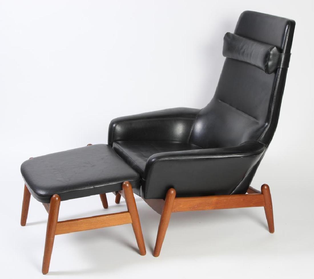 1960's SIGNED DANISH MODERN RECLINER AND LEG REST - 4