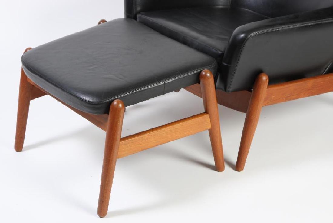1960's SIGNED DANISH MODERN RECLINER AND LEG REST - 5