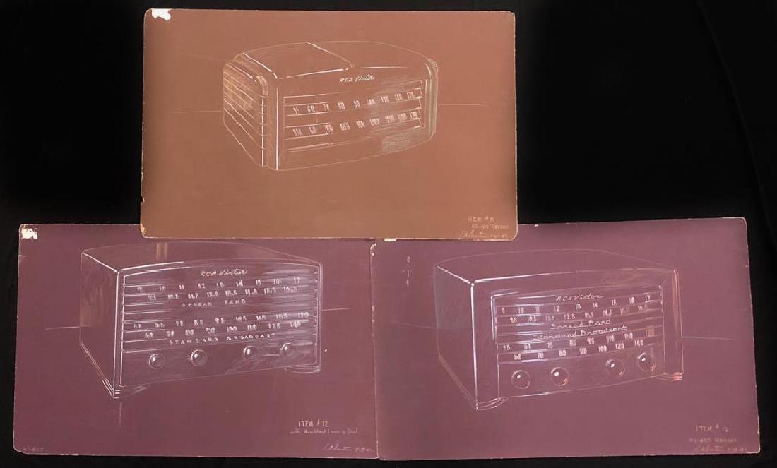 "(3) RCA VICTOR MID-MODERN RADIO CONCEPT PAINTINGS ""RCA"