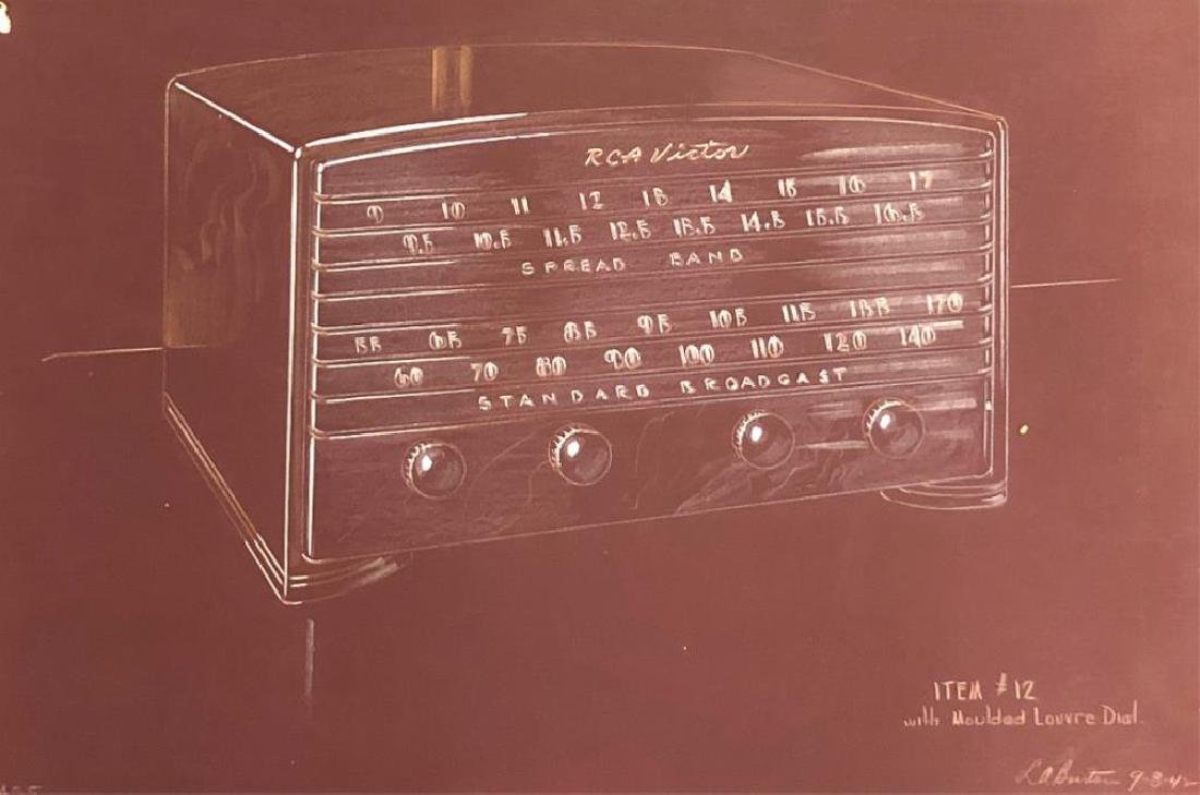 "(3) RCA VICTOR MID-MODERN RADIO CONCEPT PAINTINGS ""RCA - 6"