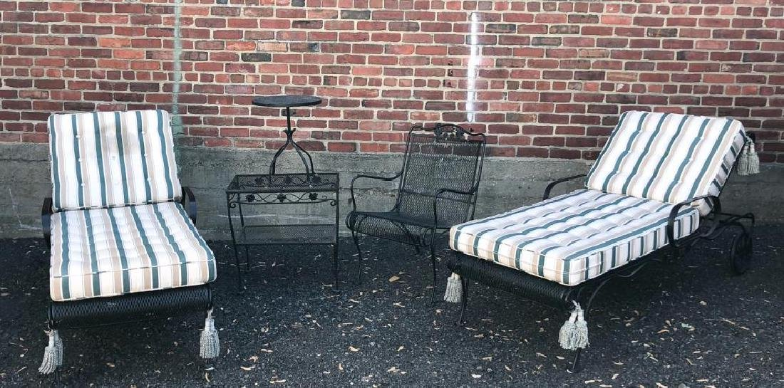 MID-CENTURY WROUGHT IRON PATIO FURNITURE Including: