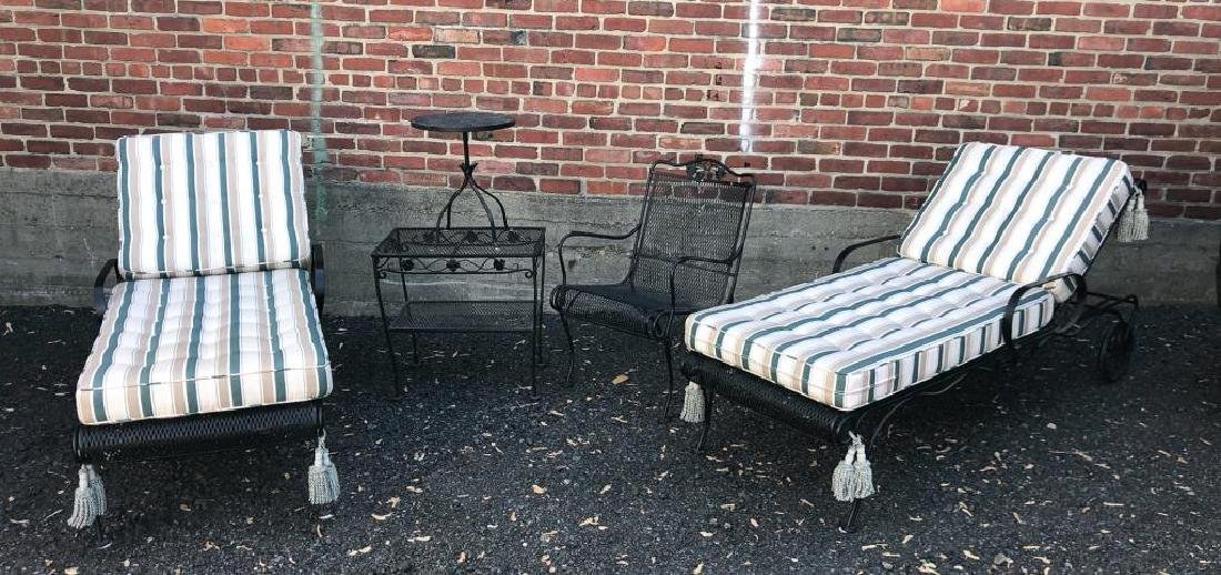 MID-CENTURY WROUGHT IRON PATIO FURNITURE Including: - 3
