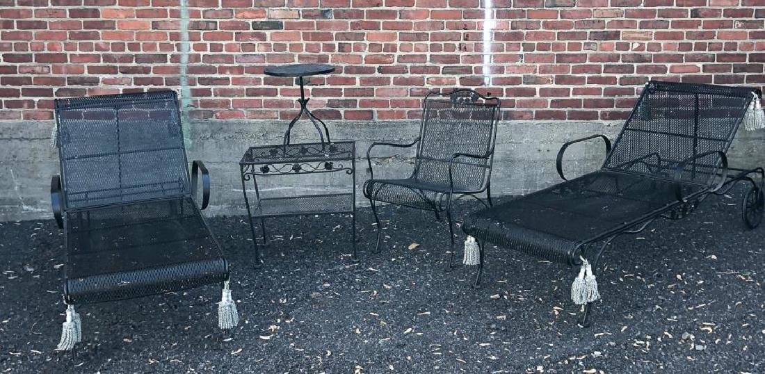 MID-CENTURY WROUGHT IRON PATIO FURNITURE Including: - 4