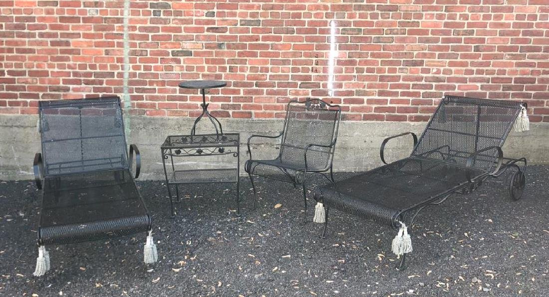 MID-CENTURY WROUGHT IRON PATIO FURNITURE Including: - 5