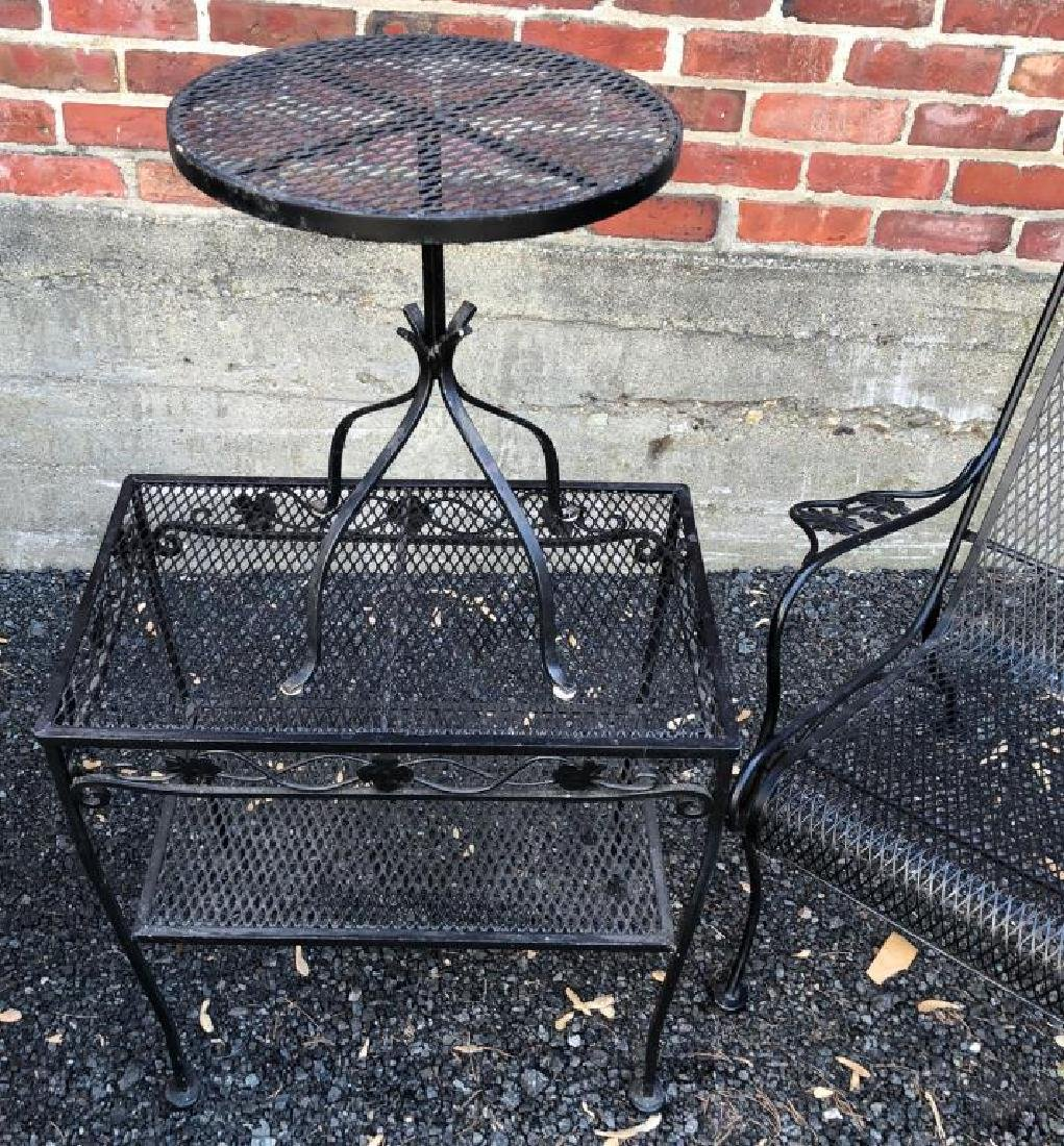 MID-CENTURY WROUGHT IRON PATIO FURNITURE Including: - 7