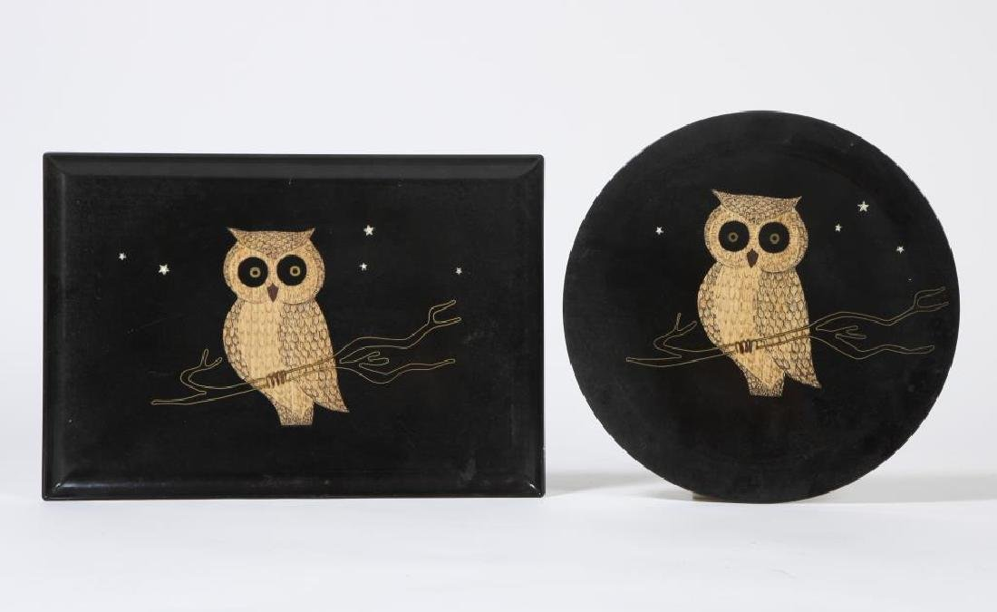 "(2) MID-CENTURY MODERN COUROC SERVING TRAYS ""Owls"""