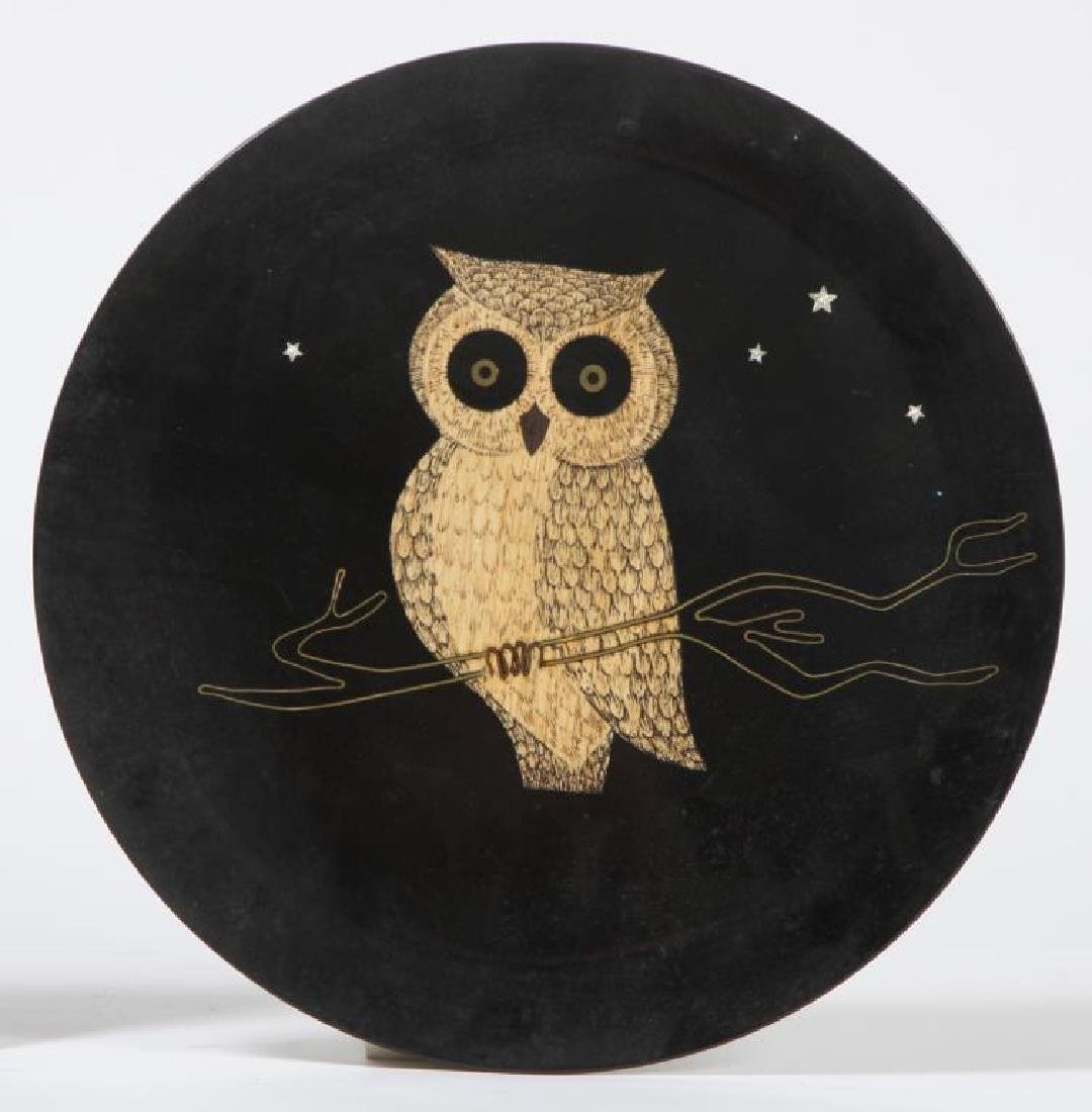"(2) MID-CENTURY MODERN COUROC SERVING TRAYS ""Owls"" - 3"
