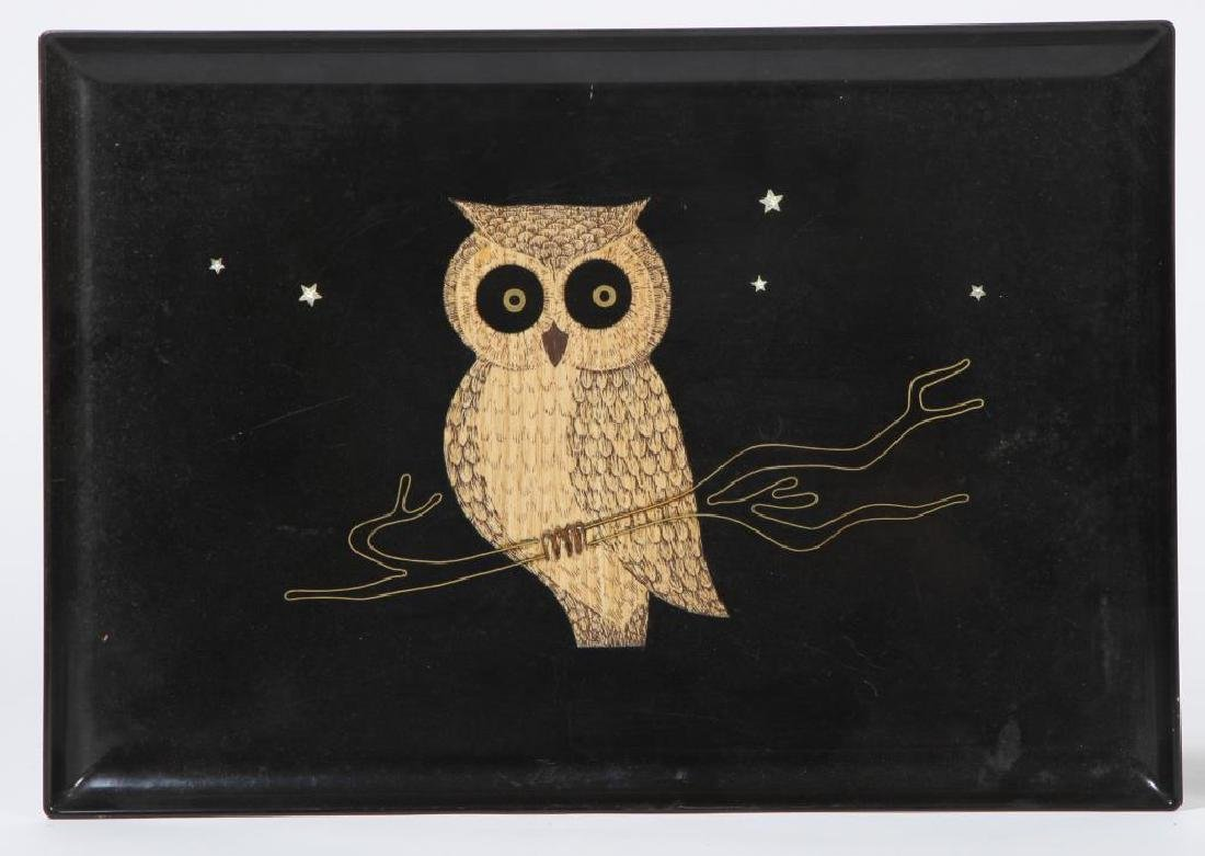 "(2) MID-CENTURY MODERN COUROC SERVING TRAYS ""Owls"" - 4"